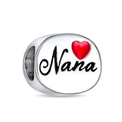 Nana Grandmother Family Red Heart Oval Charm Bead Sterling Silver