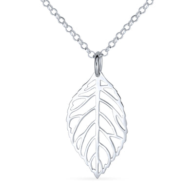 Leaf Leaves Cut Out Dangling Pendant Necklace 925 Sterling Silver