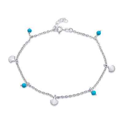 Charm Sea Aqua Blue Bed Dangle Anklet Ankle Bracelet Sterling Silver