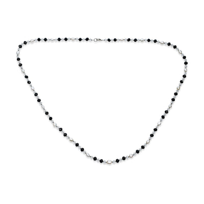 Black White Freshwater Cultured Pearl Silver Plated Wrap Long Necklace