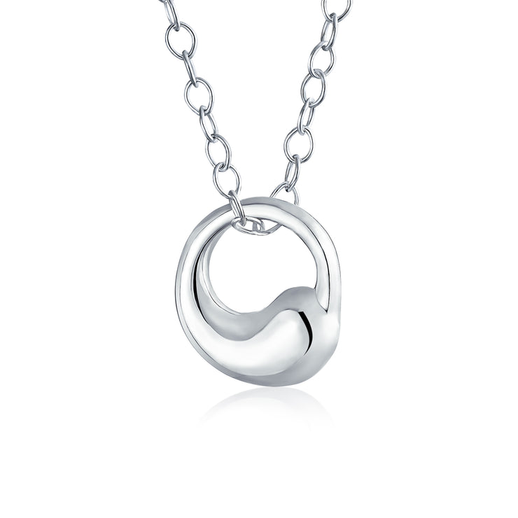 Eternal Circle Pendant Necklace High 925 Sterling Silver With Chain