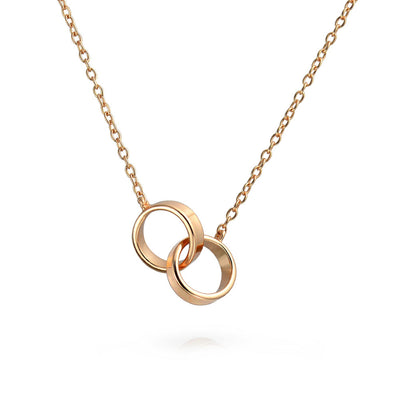 Circle Eternal Mother Daughter Couple Necklace Rose Gold Plated Silver