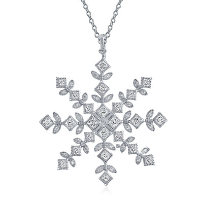 Winter Snowflake Pendant Cubic Zirconia Necklace 925 Sterling Silver