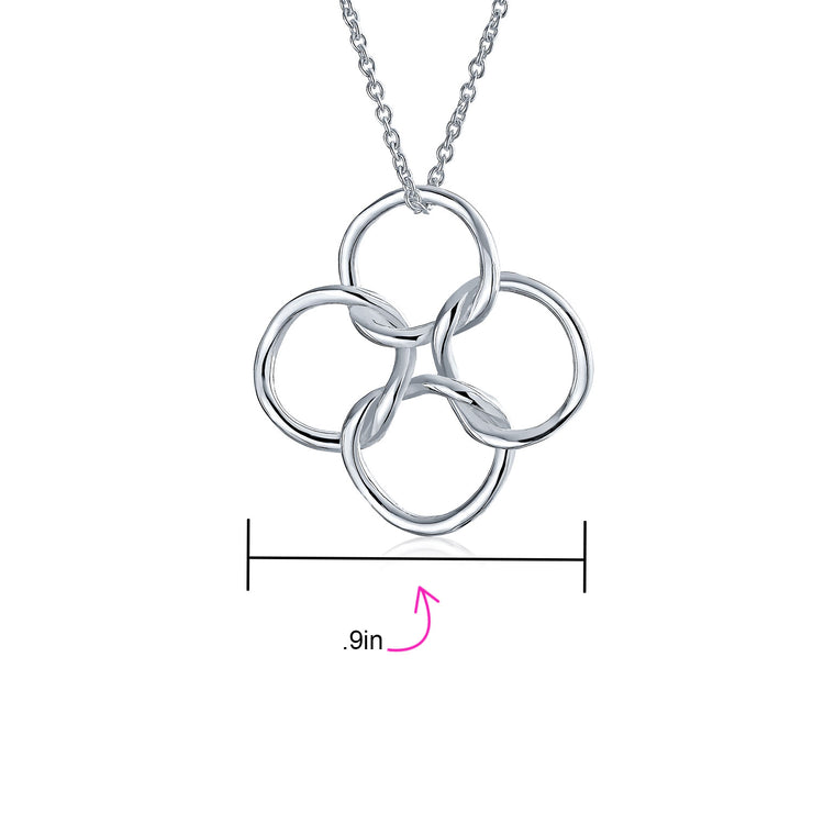 4 Geometric Interlocking Circles Pendant Necklace 925 Sterling Silver