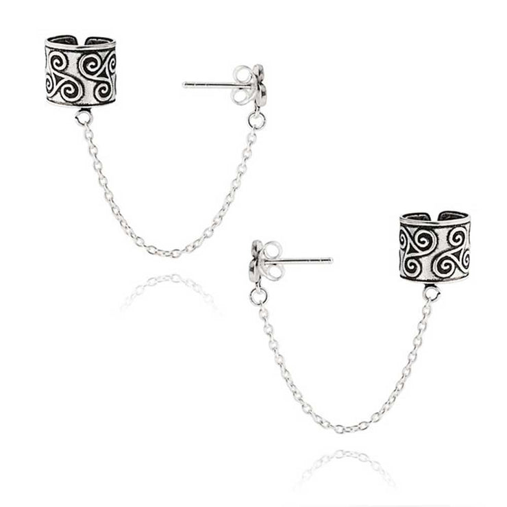 Celtic Wrap Cartilage Ear Cuff Chain Stud Earrings Sterling Silver
