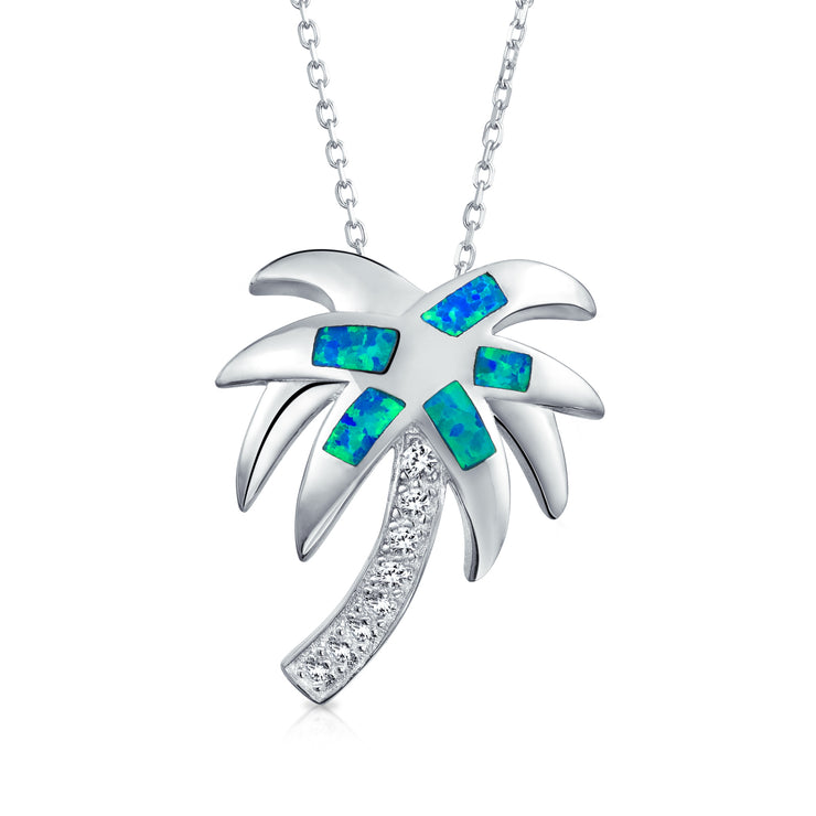 Palm Tree Pendant Blue Created Opal Necklace Sterling Silver Chain