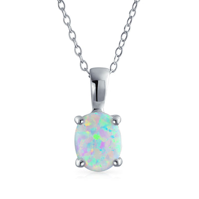 1CT Solitaire Oval Created Opal Pendant Necklace 925 Sterling Silver