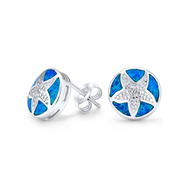 Disc Blue Created Opal Starfish Stud Earrings CZ 925 Sterling Silver