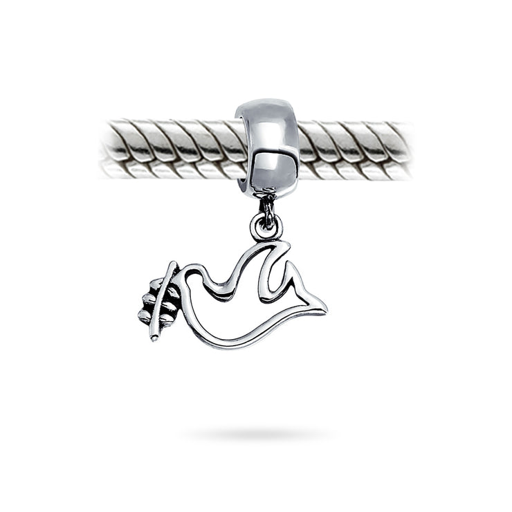 World Peace Dove Love Bird Dangle Charm Bead 925 Sterling Silver