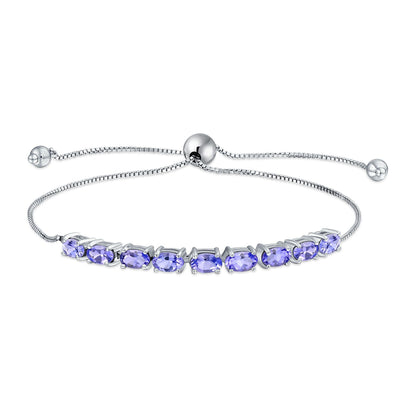 Purple Oval Tanzanite Zircon Bolo Tennis Bracelet 925 Sterling Silver