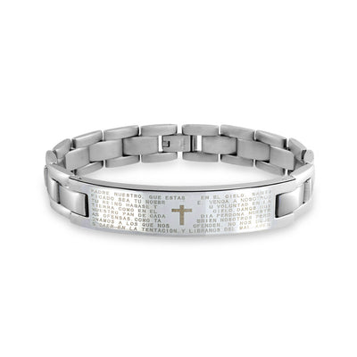 Our Lords Prayer Cross El Padre Maestro ID Bracelet Stainless Steel