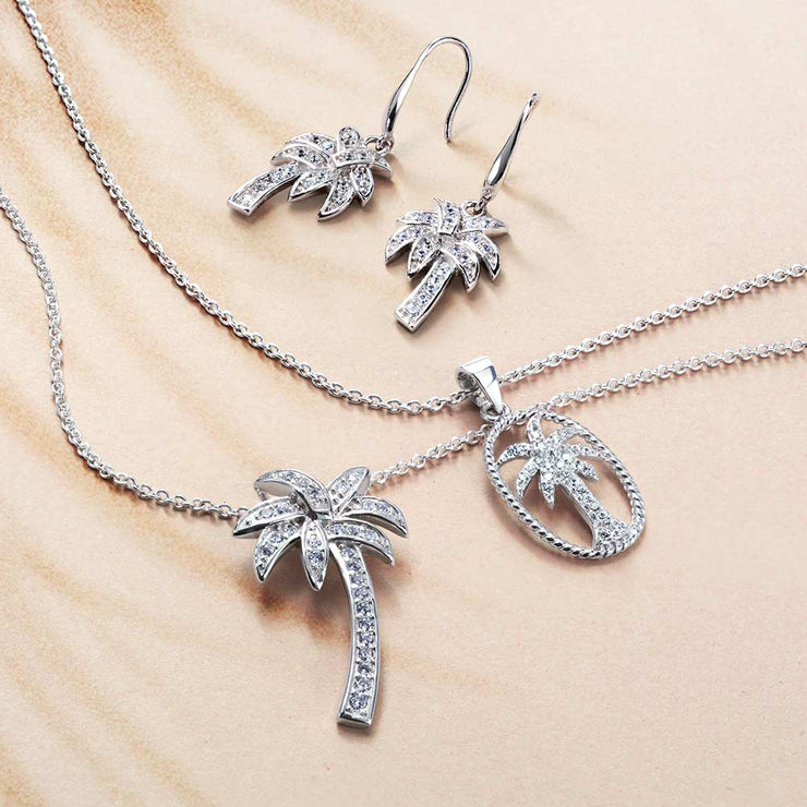 CZ Cubic Zirconia Palm Tree Earrings 925 Sterling Silver French Hook