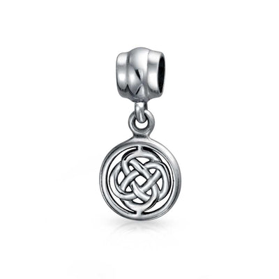 Round Celtic Love Knot Dangle Bead Charm 925 Sterling Silver