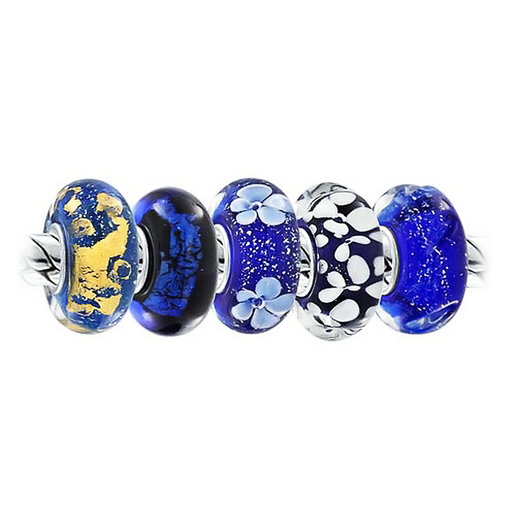Blue Flower Foil Murano Glass Mix Set of 5 Sterling Silver Bead Charm