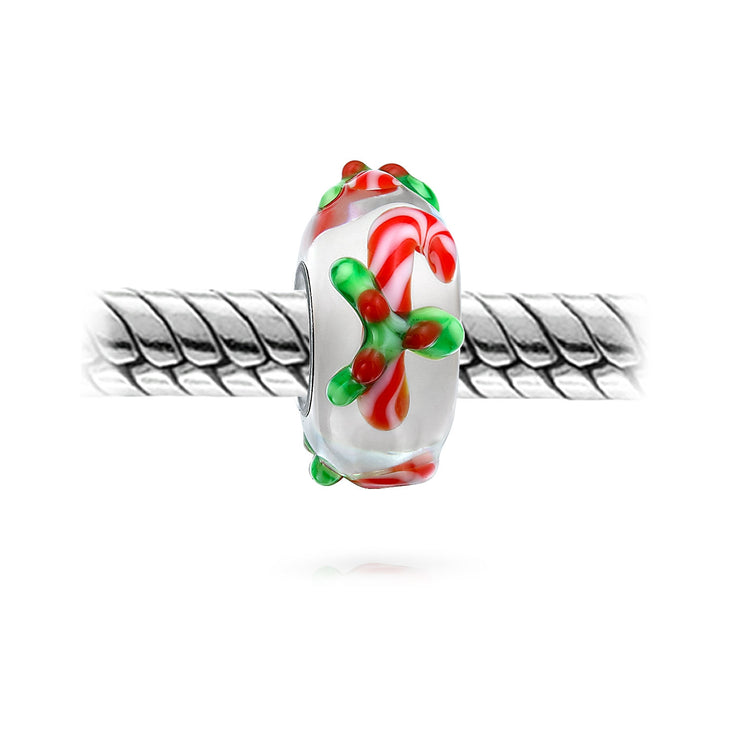 Christmas Poinsettia Candy Cane Murano Glass Bead Charm Silver