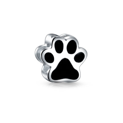 Black Paw Print Dog Cat Puppy Kitten BFF Pet Lover Charm Bead Silver