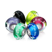 Glow in the Dark Murano Glass Set of 6 Sterling Silver Bead Charm