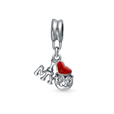 I Love My Cat Red Heart Kitten Pet Lover Charm Bead Sterling Silver