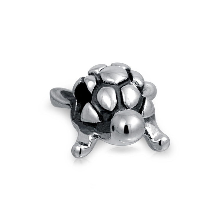 Nautical Tropical Tortoise Sea Turtle Bead Charm 925 Sterling Silver