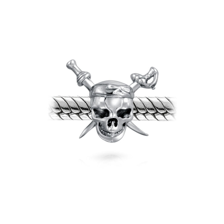 Caribbean Pirate Skull Cross Swords Charm Bead 925 Sterling Silver