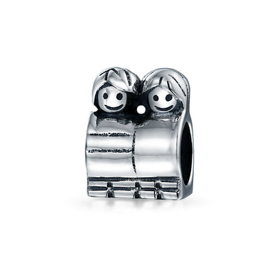 BFF Happy Brother Sister Friendship Family Charm Bead Sterling Silver
