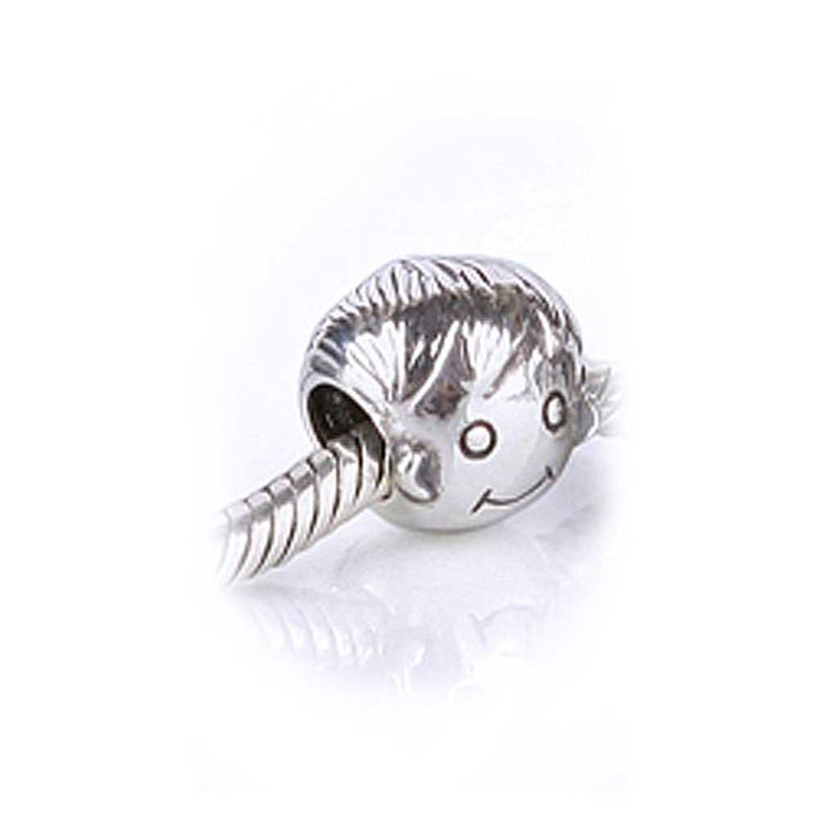 Smiling Face Son Boy Bead Charm 925 Sterling Silver