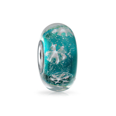 Holiday Aqua Blue Snowflake Murano Bead Charm Glass Sterling Silver