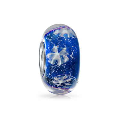 Holiday Royal Blue Snowflake Murano Bead Charm Glass Sterling Silver