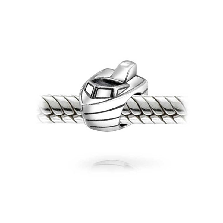 Nautical Speedboat Vacation Travel Charm Bead 925 Sterling Silver