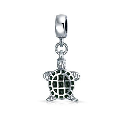 Green Turtle Vacation Dangle Bead Charm 925 Sterling Silver