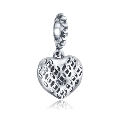 Filigree Heart Dangle Charm Bead Sterling Silver European Bracelet