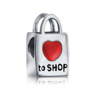 Words Shopping Bag Heart Love To Shop Charm Bead .925 Sterling Silver