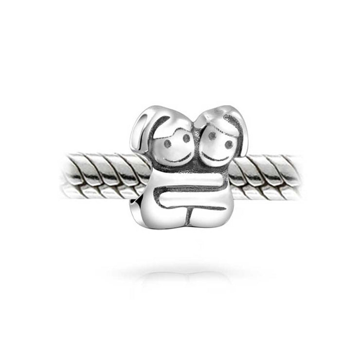 BFF Best Hugging Friends Forever Friendship Bead Charm Sterling Silver
