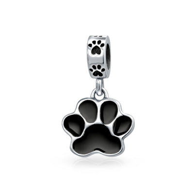 Black Dog Cat Puppy Kitten Paw Print BFF Pet Lover Charm Bead Silver