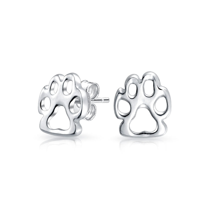 Dog Cat Puppy Kitten Paw Print Pet Paw Stud Earrings Sterling Silver