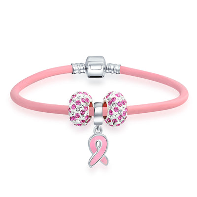 Breast Cancer Survivor Pink Ribbon Crystal Charm Pink Leather Bracelet
