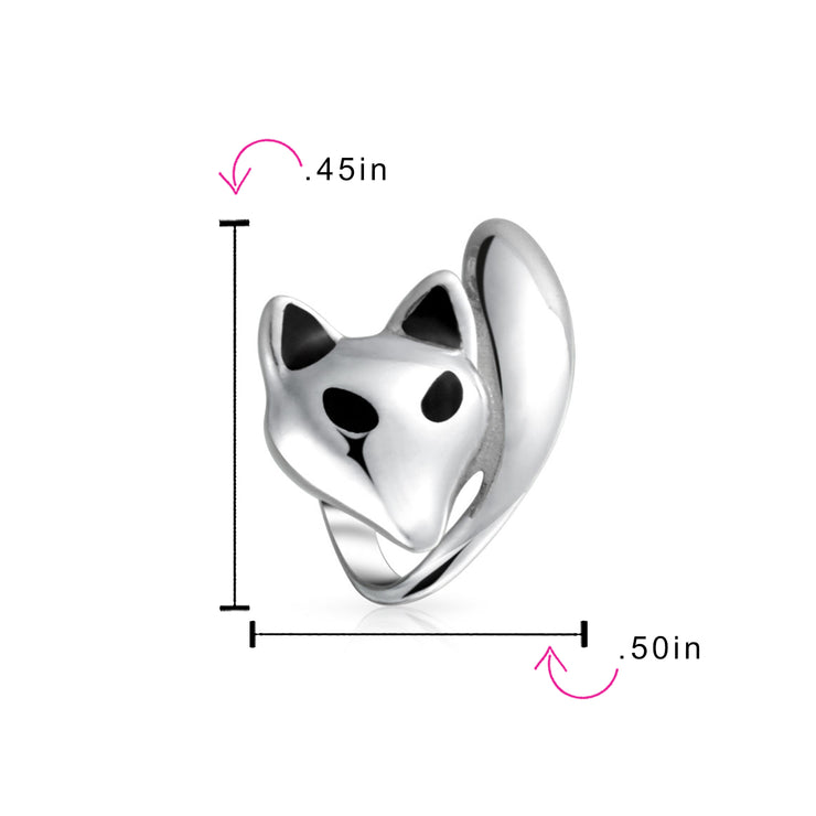 Foxy Lady Animal Fox Bead Charm .925 Sterling Silver