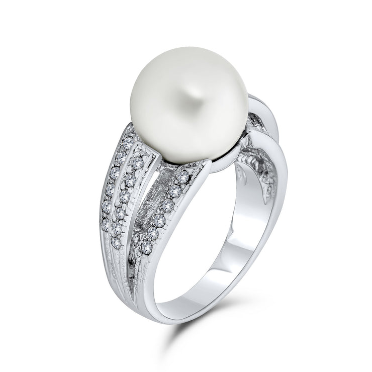 CZ Solitaire White Imitation Pearl Ring For Prom Silver Plated Brass