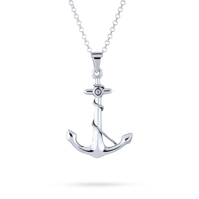 Nautical Ship Boat Anchor Rope Pendant Necklace 925 Sterling Silver