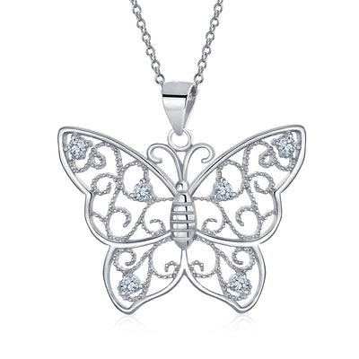 Butterfly Necklace Filigree Cubic Zirconia CZ Pendant Sterling Silver