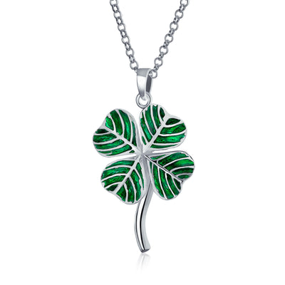 Lucky Leaf Clover Green Shamrock Pendant Necklace 925 Sterling Silver