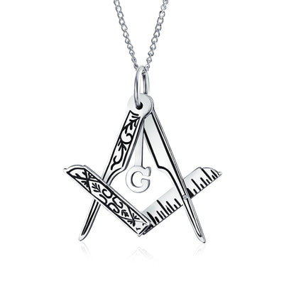 Masonic Freemason Foldable Compass Pendant Sterling Silver Necklace