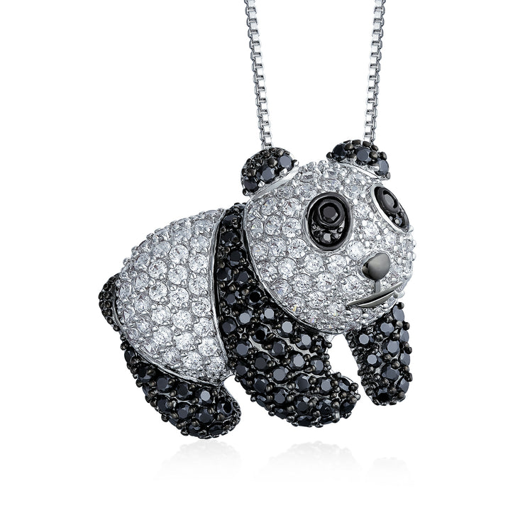 Panda Bear Pendant Necklace Black Cubic Zirconia CZ Silver Plated