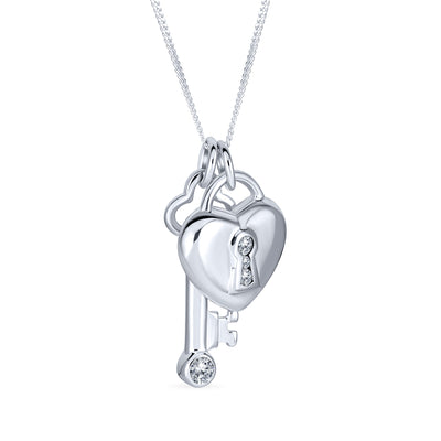 Lock Key Heart 2 CZ Charm Pendant 925 Sterling Silver Necklace 16 In