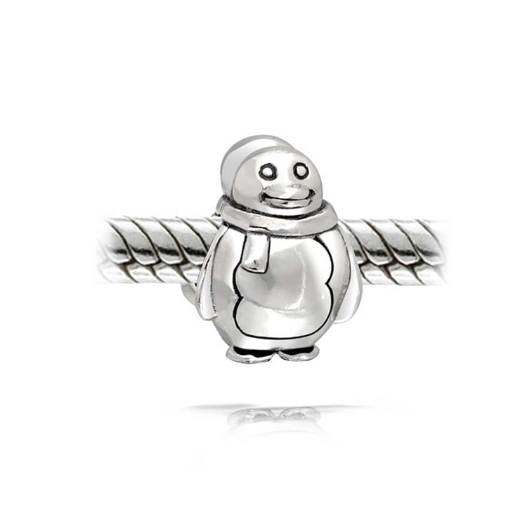 Holiday Christmas Snowman Penguin Charm Bead 925 Sterling Silver