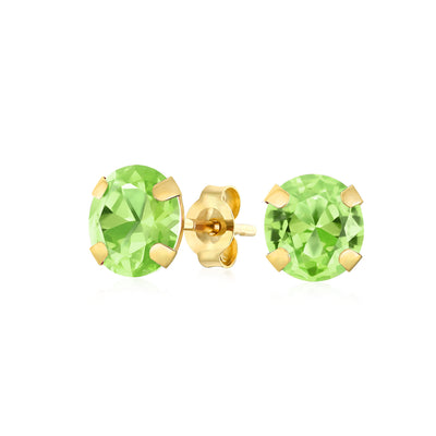 1.4CT Round Gemstone Peridot Stud Earrings Real 14K Yellow Gold
