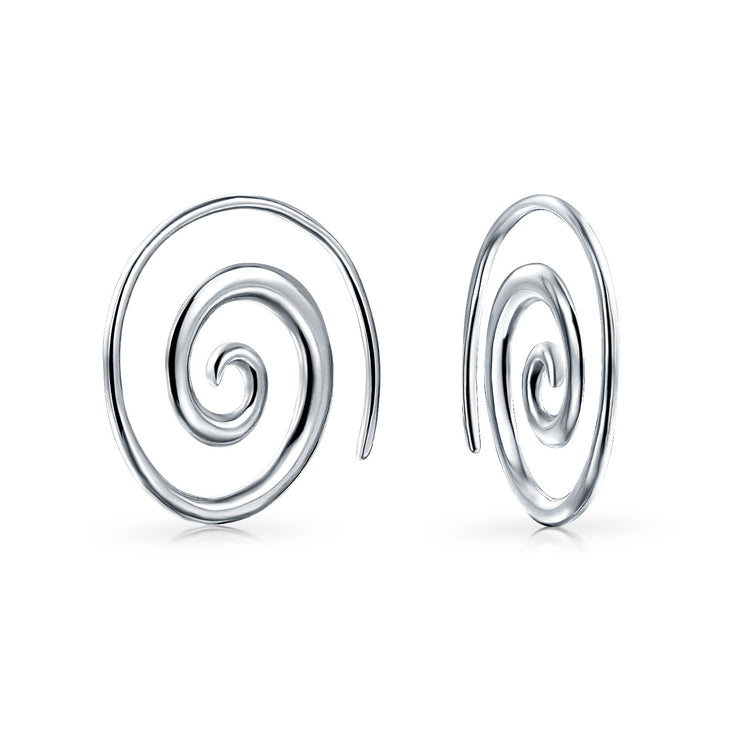 Boho Swirl Wire Spiral Hoop Threader Earrings 925 Sterling Silver