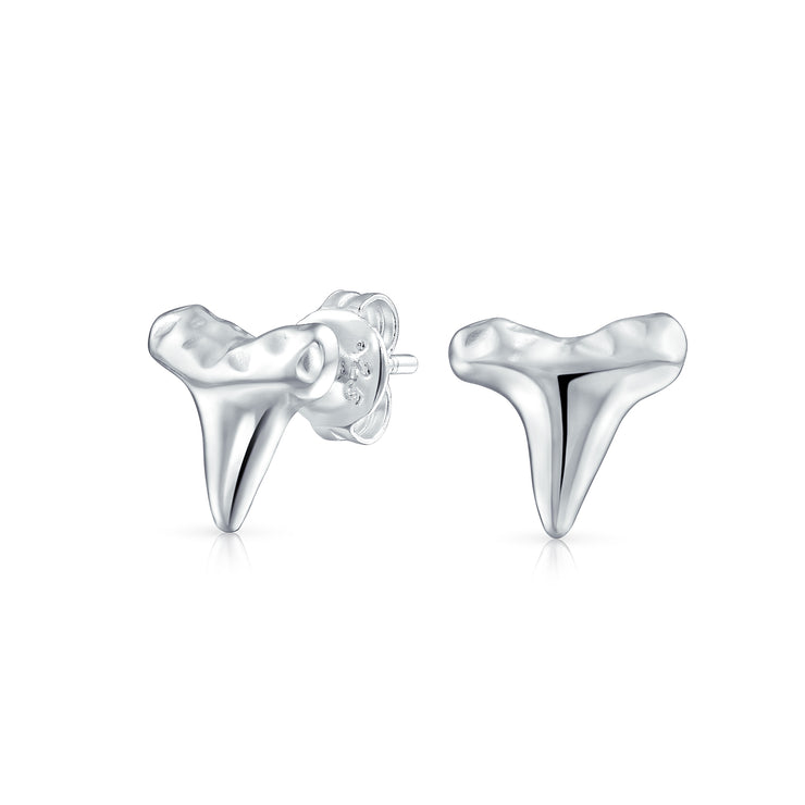 Nautical Shark Tooth Stud Earrings Women Hammered 925 Sterling Silver