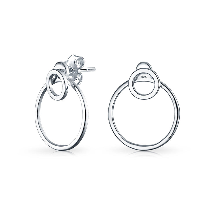 Geometric Round Open Circle Drop Stud Hoop Earrings Sterling Silver