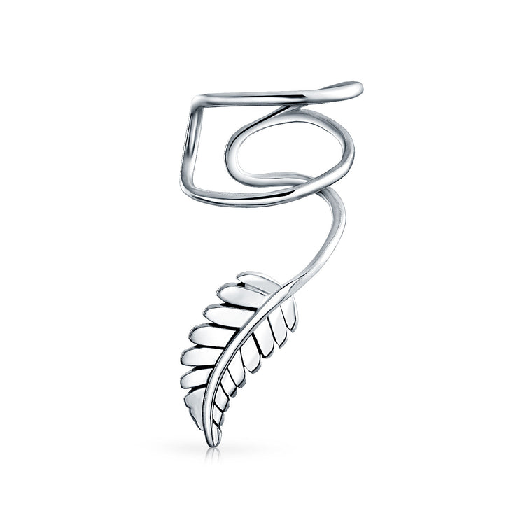 Leaf Feather Cartilage Ear Cuff Clip Earring Helix Sterling Silver